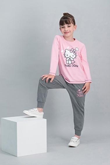 Hello Kitty Hello Kitty Lisanslı Açık Pembe Kız Çocuk Pijama Takımı Pembe